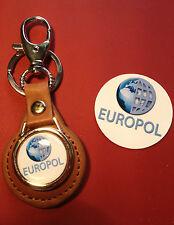 1# EURPOL `EUROPEAN POLICE AGENCY`   TAN LEATHER KEY RING & STICKER