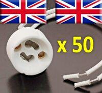 50 xGU10 Lamp Holder Mains,LED, Halogen Base Socket Ceramic Connector Downright