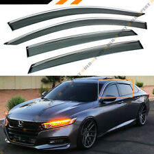 FOR 2018 10TH GEN HONDA ACCORD CLIP-ON TYPE CHROME TRIM WINDOW VISOR RAIN GUARD