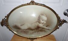 VINTAGE ORNATE GOLD METAL FRAME BUBBLE GLASS BABY ON BLANKET PICTURE FRAME
