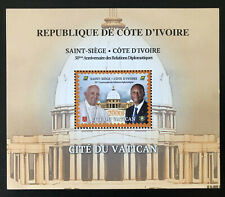 2020 Joint Issue Vatican Ivory Coast Côte d'Ivoire 50 years Pope Souvenir Sheet