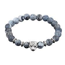 Gold Lava Stone Bead Obsidian Bracelet Jaguar Head