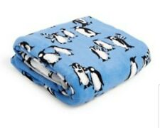 "Vera Bradley Micro Fleece Throw Blanket Penguin Blue 50"" x 80"" NWT"