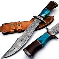 Handmade Damascus Steel 15 Inches Bowie Knife - Solid Marindi Wood Bone Handle