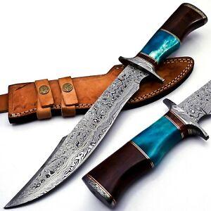 Handmade Damascus Steel 15 Inches Bowie Knife - Solid Marindi Wood Bone Handle