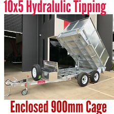10x5 Tipping Trailer Galvanised Hydraulic 3. 5 TON ATM with 900mm Enclosed Cage