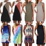 Womens Summer Casual Sleeveless Evening Party Long Shirt Tops Short Mini Dress