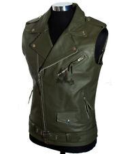 Men's K1 Puffer Tan Waxed DESIGNER Winter Soft Lambskin Leather Waistcoat S