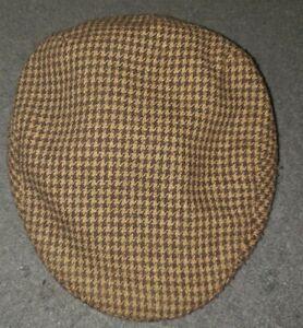 Vintage KANGOL Heritage Tweed Peebles Cap Hat Brown Small Houndstooth Cabbie