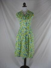 Vtg 50s 60s White Womens Vintage Sleeveless Cotton Garden Party Dress W 30