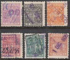 Spain Telegraph Stamps Barefoot #76/83 used 6 diff stamps cv $8