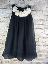 Girls Cherokee Black With Cream Roses Dress Size M