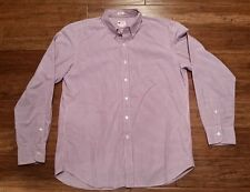 J. Crew Tailored Fit Button Front Long Sleeve Men's Size L Purple White EUC!*!*!