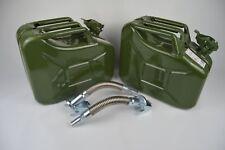 2x Benzin-/Dieselkanister 10L aus Metall inkl. 2x flexiblen Metalausgiesser
