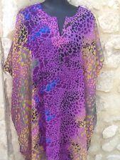 Robe tunique kaftan caftan piscine plage violet noir bleu jaune S M L XL XXL