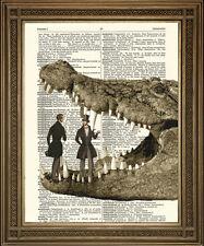 VICTORIAN GENTLEMEN & ENORMOUS CROCODILE: Vintage Dictionary Print Wall Art