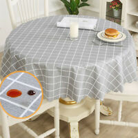 Table Cloth Grids Pattern Waterproof Round Tablecloth Oil-Proof Stain-Resistant