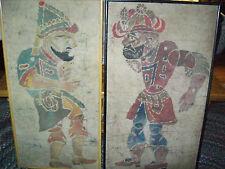 Unique Original Pair of  Malaysian Batik Art Dynasty Warriors Asian Folk Art
