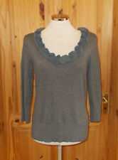 PER UNA grey knitted floral rosette ribbon 3/4 sleeve jumper sweater top 12 40