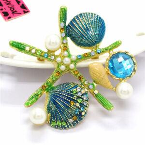 Betsey Johnson Green Enamel Starfish Shell Pearl Crystal Charm Brooch Pin Gift