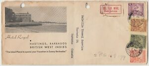 BARBADOS 1936 multi franked *HOTEL ROYAL HASTINGS* illustrated cover to Canada