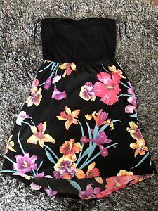 Girl's ROXY  black Hawaiian flower beach dress Size XS