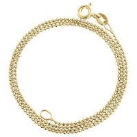 10K Yellow Gold 1mm Diamond Cut Beaded Chain Fancy Italian Necklace 16 - 24 Inch