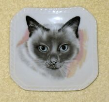 Vintage Cm Inc Chadwick Miller Japan Small Porcelain Cat Plate /Trinket Dish #2