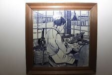 Vintage Handpainted Delft Blue Ceramic Tile Panel.