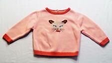 "Gymboree ""Teacher's Pet"" Siamese Kitty Cat Face Pink Sweater, 18-24 mos."
