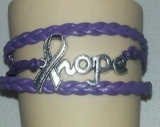 ALZHEIMERS AWARENESS RIBBON,HOPE,LEATHER CHARM BRACELET-PURPLE-SILVER-#14