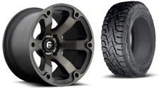 """18"""" Fuel Beast D564 Black Wheels Rims and 33"""" Toyo RT Tires 6x5.5 Chevy GMC TPMS"""