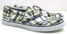 Sperry Top-Sider Mens 13 Halyard Green Plaid Slip on Boat Shoes Slippers Loafers