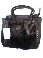 Women's Slouch leather bag cow hide fur bucket bag