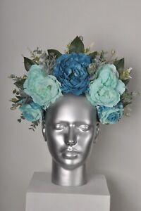 Teal Mint Blue Pastel Rose Orchid Peony Headband Flower Crown Fascinator