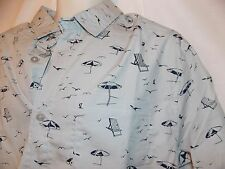 mens beach scene button front s/s shirt XL nwt putty gray