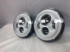 7'' WHITE Halo DRL Headlights Suzuki Sierra Jeep Wrangler JK CJ TJ LED Rubicon