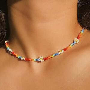Boho Women Handmade DIY Beaded Flower Choker Necklace Charm Chain Jewelry  yt