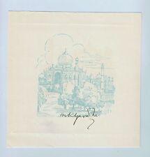 Mahatma Gandhi Signed 1929 original print of the Taj Mahal
