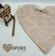 Personalised Wooden Large Guestbook Heart 40cm Wedding Alternative Natural Love