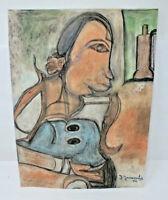 J. Yanoula 1954 Pastel On Wove Paper Abstract Woman Figural Drawing Art Print