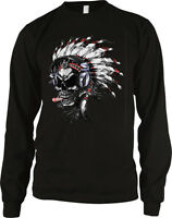 Native American Skull Headdress Cigar Gothic Death Undead Long Sleeve Thermal
