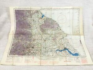 1940 WW2 Military Map of North East England Middlesbrough Hull RAF Aeronautical
