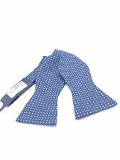 $125 TOMMY HILFIGER Men`s WHITE BLUE POLKA DOT BOW TIE CASUAL ADJUSTABLE BOWTIE