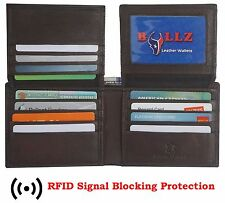RFID Leather Men's Bifold Wallet Slim Hipster Thick Cow Credit Card New Brown