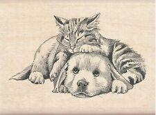 Kitty Cat & Puppy Dog Wood Mounted Rubber Stamp Inkadinkado 60-01217 NEW