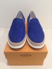 NIB Tod's Blue Suede Slip On Espadrille Sneaker 40