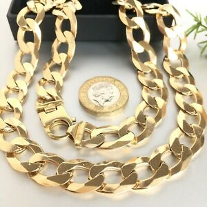 """HEAVY 9ct GOLD SOLID CURB MEN'S CHAIN 21"""" - 93.1g (2.9 toz)"""