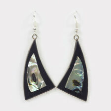 """Black & Alpaca Silver """"Sail"""" Earring with Abalone (Mother of Pearl) Shell Mexico"""