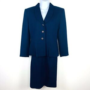 Kasper Petite Womens Suit Sz 6P Navy Blue Jacket Skirt Career Occasion Wool K14